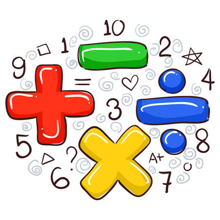 Vector Illustration of Math Symbols and Numbers 일러스트