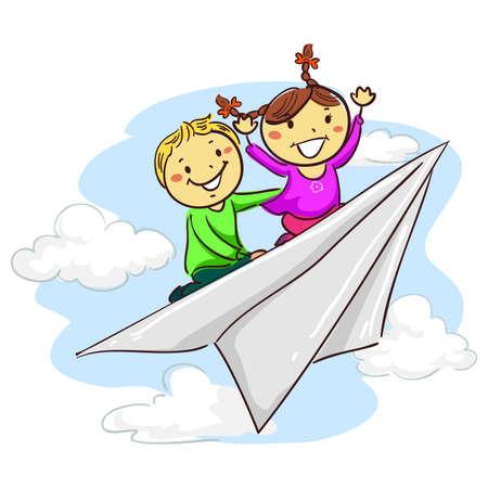 pre teen: Vector Illustration of Stick Kids riding Paper Plane