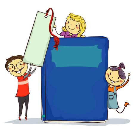 Vector Illustration of Stick Kids beside Big Book and Bookmark