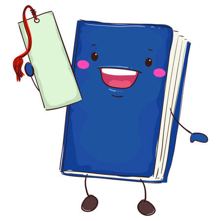 jotter: Vector Illustration of Book Mascot Holding Bookmark