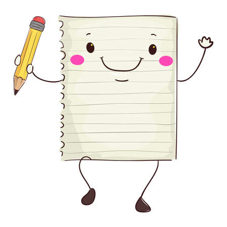 scratch pad: Vector Illustration of Paper Mascot Holding a Pencil