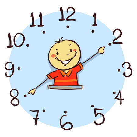 Vector Illustration of Boy using his arm as clock hand Ilustração