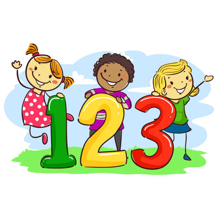 Vector Illustration of Stick Kids with 123