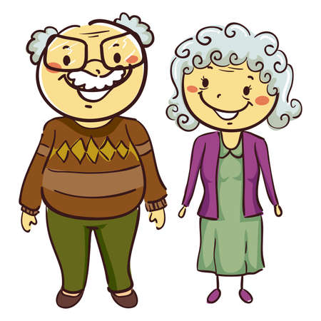 Vector Illustration of Grandmother and Grandfather