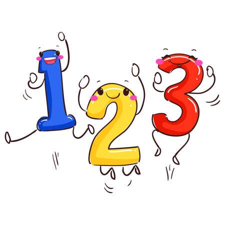 stick out: Vector Illustration of Number Mascot 123 Dancing Illustration