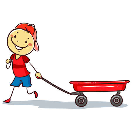 pre teen: Vector Illustration of Stickman Boy pulling a red Wagon