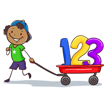 pre teen: Vector Illustration of Stick Black Boy Pulling wagon with 123