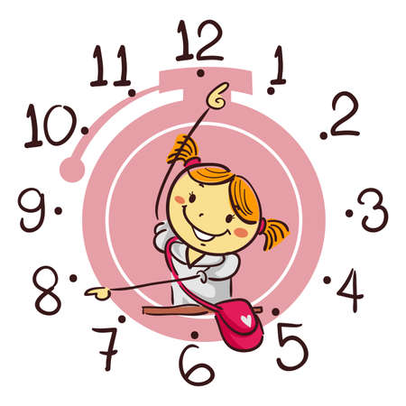 pre teen: Vector Illustration of Stick Kid Girl Showing using her arm as Hand Clock pointing 8 oclock Illustration
