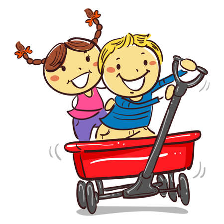 Vector Illustration of Kids Riding on a Red wagon