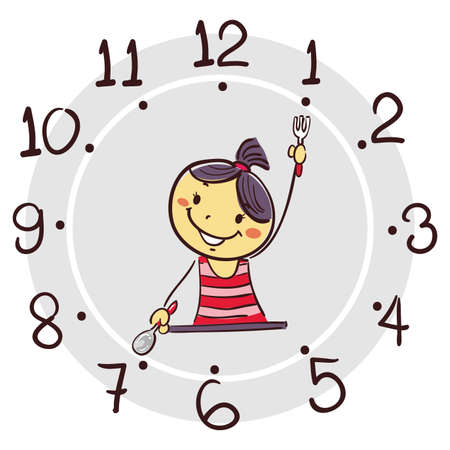Vector Illustration of Stick Girl using his arm as clock hand pointing 7 oclock for breakfast Stock Illustratie