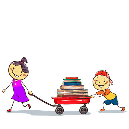 Vector Illustration of Stick Kids Pulling a Wagon Load of Books