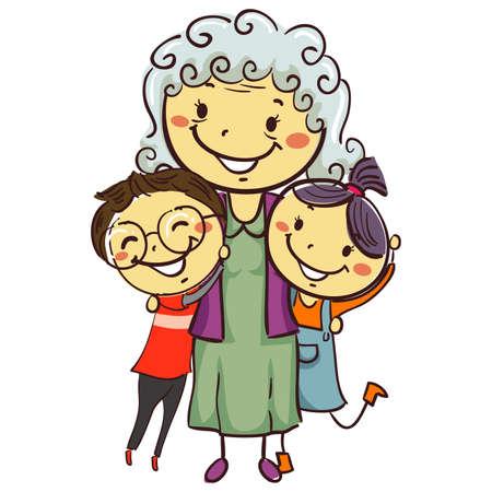 Vector Illustration of Stick Kids with Grandma