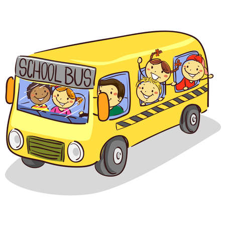 Vector Illustration of Stick Kids on School Bus Illustration