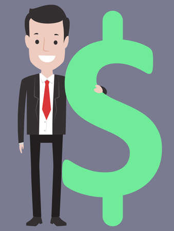 Vector Illustration of a Business Man Holding a Dollar Sign