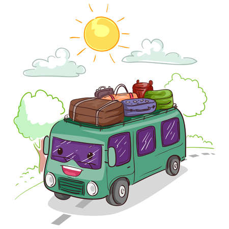 Vector Illustration of a Bus Mascot loaded with Luggage