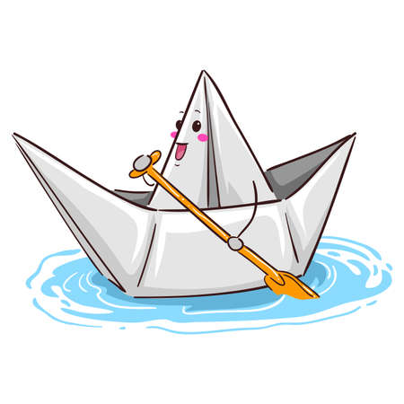 Vector Illustration of a Paper Boat Mascot Paddling Illustration