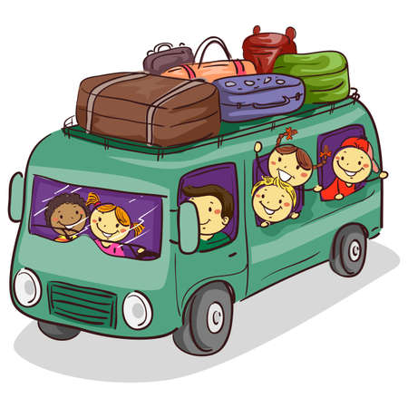 Vector Illustration of People in the Van Loaded with Luggage