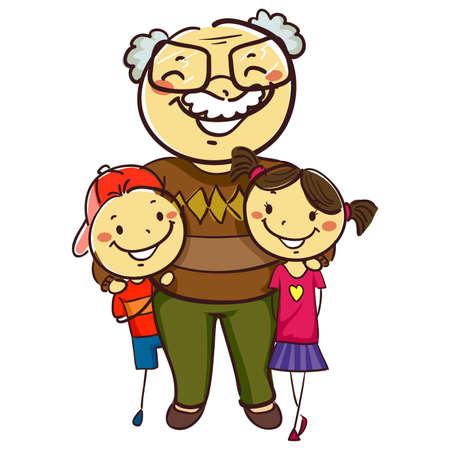 Illustration vectorielle de Stick Kids with Grandpa