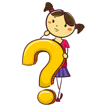 pre adolescent child: Vector Illustration of Stick Kid Girl with Question Mark Symbol