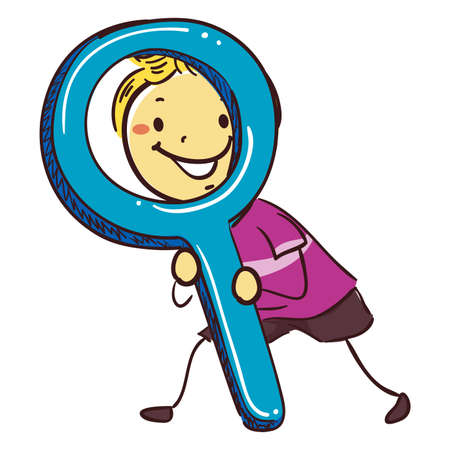 Vector Illustration of Stick Kids Holding a Giant Magnifying Glass Illustration