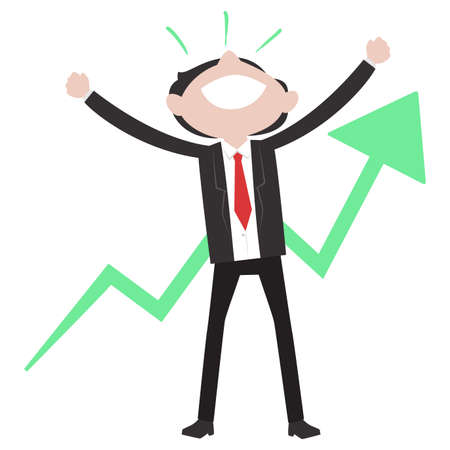 Vector Illustration of Business Man Raising his Hands Feeling Happy with Arrow Going Up Behind Illustration
