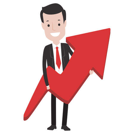Vector Illustration of Business Man holding a Red Arrow Up