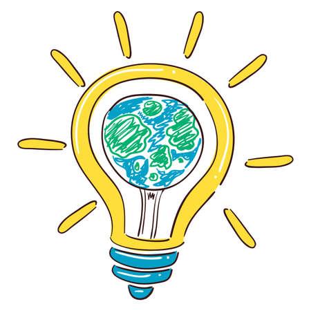 Vector Illustration of Bulb Light Earth Illustration