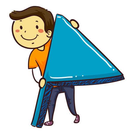 Vector Illustration of Stick Boy Holding a Blue Flag Illustration