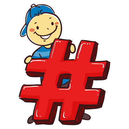Vector Illustration of Stick Boy Holding a Hashtag Icon Illustration