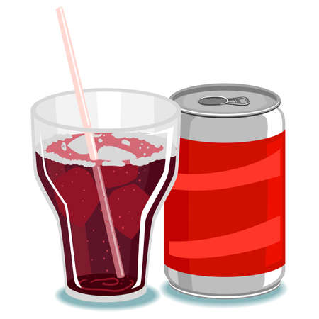 tin packaging: Vector Illustration of Soda on Glass and Can Illustration