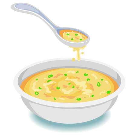 Vector Illustration of Soup on Bowl with Spoon
