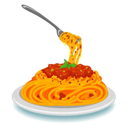 Ilustraciones Vectoriales de espaguetis con tenedor en la placa Foto de archivo - 73522378