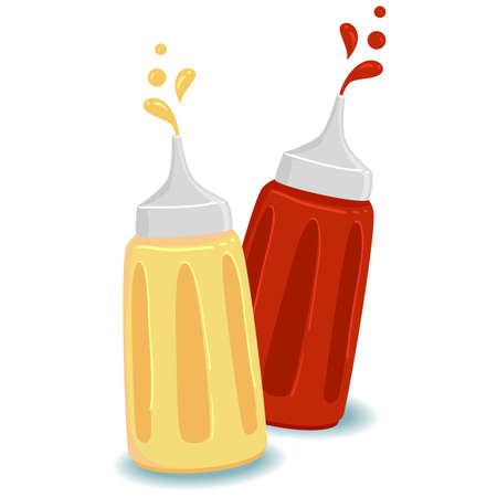 Vector Illustration of Bottle of Ketchup and Mustard