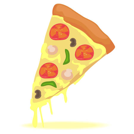 Artistic Vector Illustration of One Slice of Pizza.