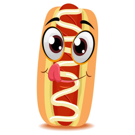 Vector Illustration of Hotdog on Bun mascot Illustration