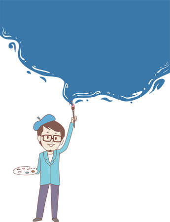 hobbyist: Vector Illustration of Painter painting wall Blue for Background Template