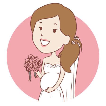 Vector Illustration of Pregnant Bride Icon