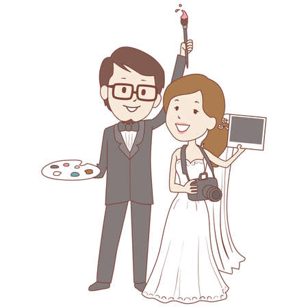 hobbyist: Vector Illustration of Man Holding a Paintbrush and Girl in wedding dress holding a camera