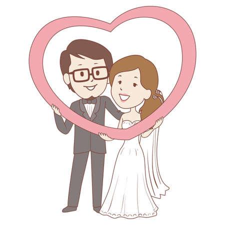Vector Illustration of Bride and Groom Holding Big Heart Vector Illustration