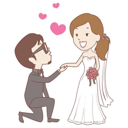 Vector Illustration of Kneeling Groom with Bride Wedding Proposal