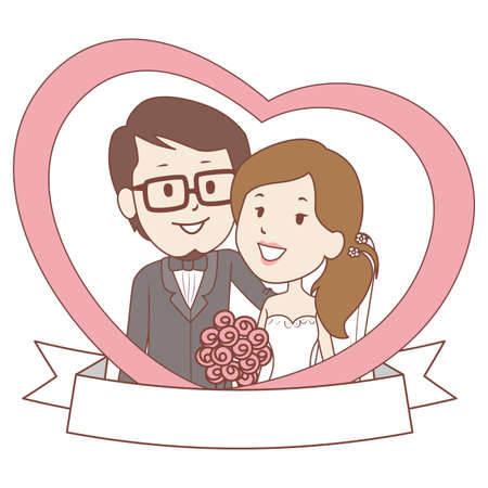Vector Illustration of Bride and Groom Couple with Banner inside the Heart