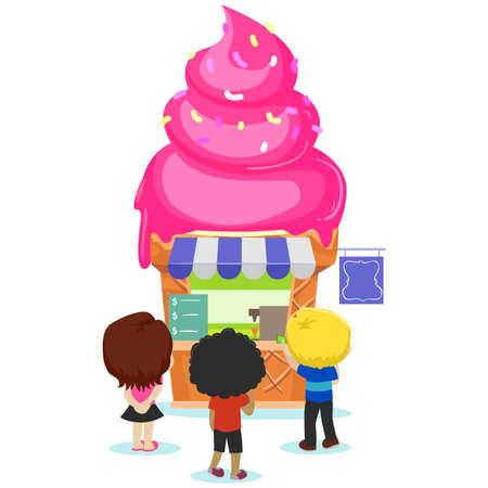 carretto gelati: Illustrazione vettoriale dei bambini andare al negozio Ice Cream