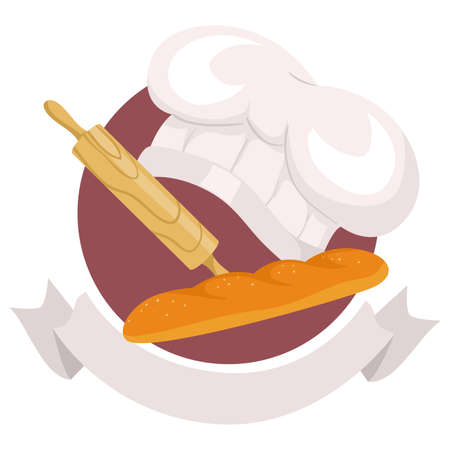 Vector Illustration of Baking Elements Icon with Ribbon Label Illustration