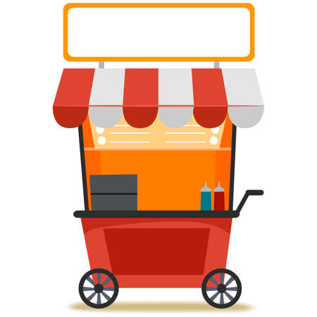 Vector Illustration of a Food Cart with Blank Signage