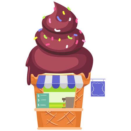 Vector Illustration of an Ice cream Stall Illustration