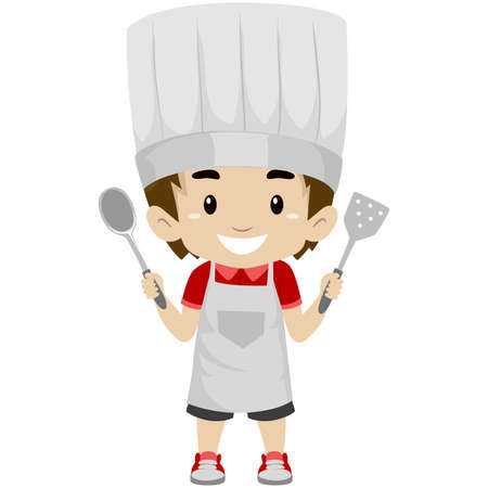 turner: Vector Illustration of a Kid Boy as Chef Holding a Holding Kitchen Utensils