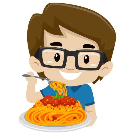 スパゲッ ティーを食べて子供男の子のベクトル イラスト
