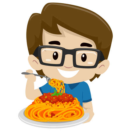 Vector Illustration of Kid Boy Eating Spaghetti Ilustração