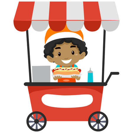 Vector Illustration of a Vendor Boy Selling Hotdog on Food cart