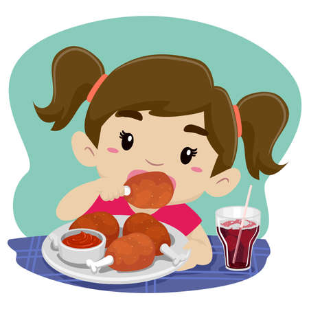 Vector Illustration of Little Girl Eating Chicken with Soda